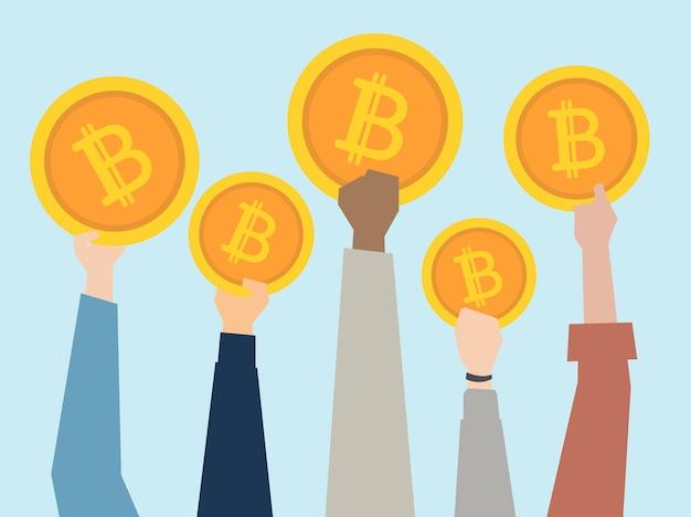 Ludzie trzyma up cryptocurrency ilustracja