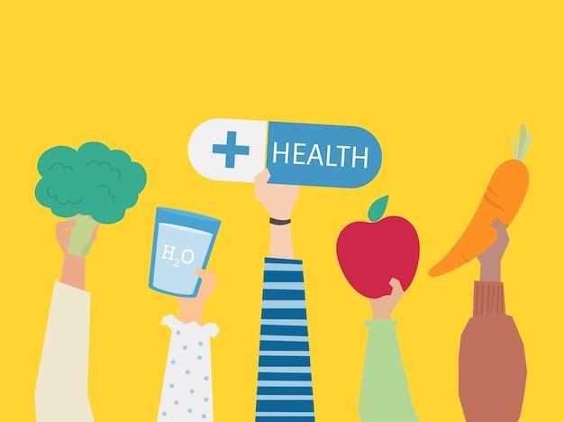Ludzie trzyma zdrowie symbole ilustracyjni