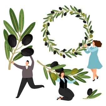 Ludzie trzymają gałązki oliwne i kolekcję wieńców z oliwek