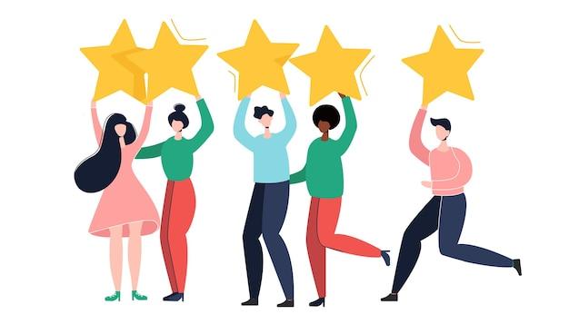Ludzie trzymają gwiazdy. opinie klientów ilustracja koncepcja ilustracja koncepcja. ilustracja w stylu cartoon płaski