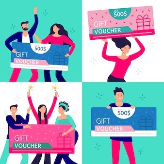 Ludzie trzymają kupon prezentowy. szczęśliwy mężczyzna, kobieta i para, ciesząc się, wygrywając i trzymając certyfikat prezenty