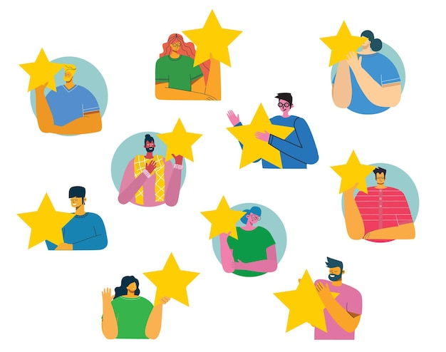 Ludzie trzymają pięć gwiazdek i dają pozytywne opinie