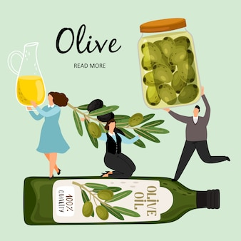 Ludzie trzymają produkty z oliwek