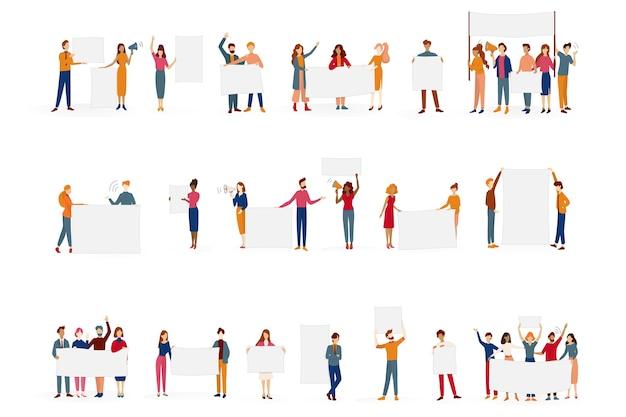 Ludzie trzymają zestaw bannerów. kolekcja grupy znaków z pustą pustą tablicę wiadomości. koncepcja reklamy. ilustracja w stylu kreskówki
