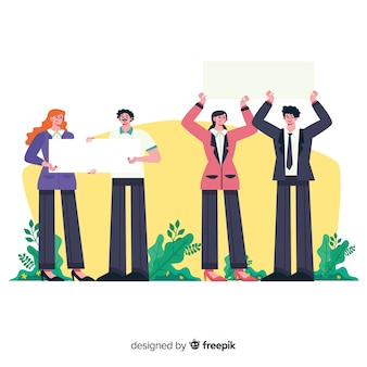 Ludzie trzymający czyste plakaty
