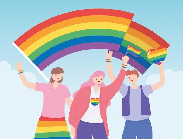 Ludzie trzymający flagi lgbtq wspierają społeczność, protest przeciwko dyskryminacji seksualnej podczas parady gejów