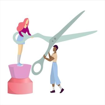 Ludzie trzymający nożyczki do włosów. idea salonu kosmetycznego. sprzęt fryzjerski. ilustracja w stylu kreskówki