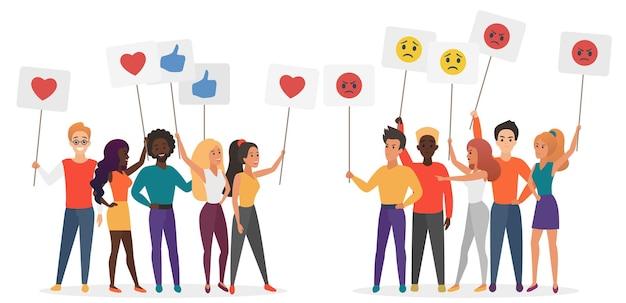 Ludzie trzymający plakaty emocji emoji