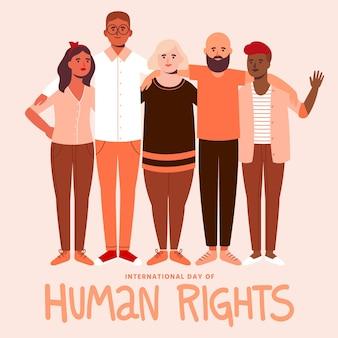 Ludzie trzymający się razem w ramach międzynarodowego dnia praw człowieka