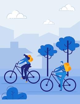 Ludzie turyści jeżdżący na rowerze, jazda na rowerze na świeżym powietrzu.