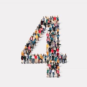 Ludzie tworzą numer cztery. grupa punktów tłumu tworząca z góry określony kształt.