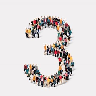 Ludzie tworzą numer trzy. grupa punktów tłumu tworząca z góry określony kształt.
