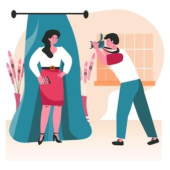 Ludzie tworzą swoją ulubioną koncepcję sceny hobby. fotograf robi sesję zdjęciową z pozującą kobietą. fotografia amatorska, zajęcia dla ludzi studia fotograficznego. ilustracja wektorowa postaci w płaskiej konstrukcji