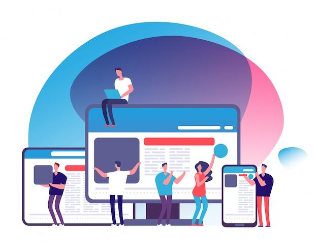 Ludzie tworzący responsywną aplikację internetową za pomocą urządzeń elektronicznych