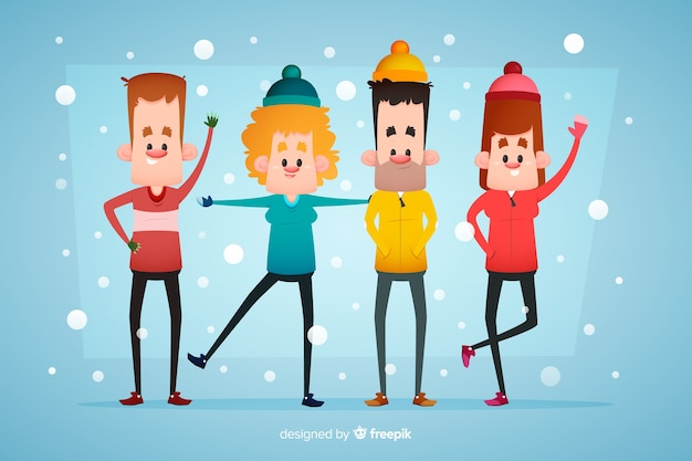 Ludzie ubrani w zimowe ubrania i pozostający na śniegu