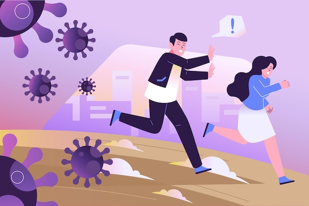 Ludzie uciekają przed cząsteczkami koronawirusa