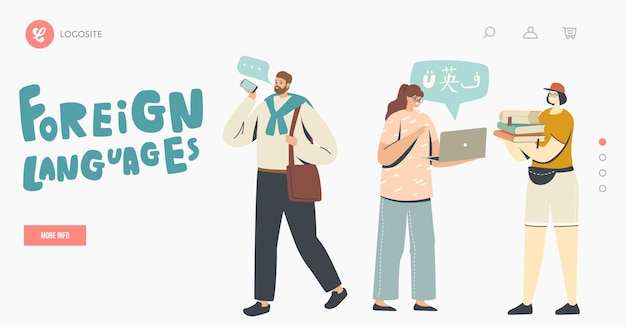 Ludzie uczą się języków obcych szablon strony docelowej. postacie korzystają z translatora online i usług tłumaczeniowych, aplikacji do tłumaczenia mowy i słownika wielojęzycznego. ilustracja kreskówka wektor