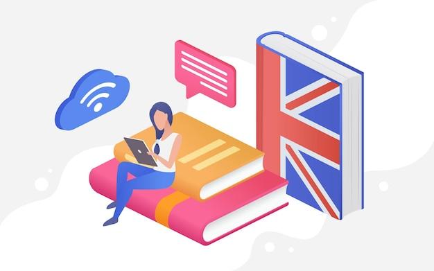 Ludzie uczą się koncepcja edukacji językowej d malutki student siedzący na książkach z telefonem.