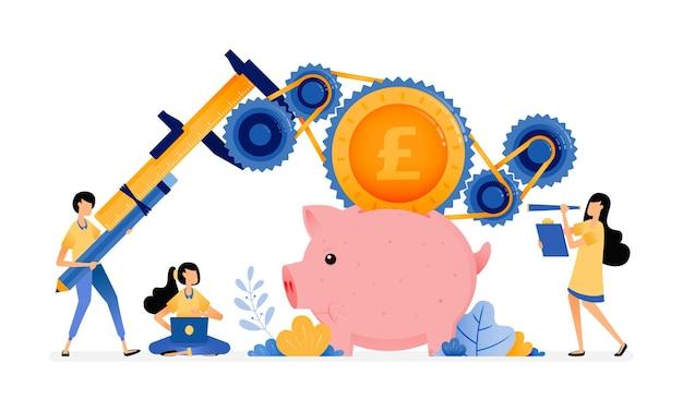 Ludzie uczą się ulepszać system bankowy, kredyty i oszczędzanie