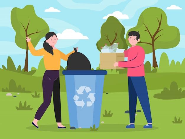 Ludzie umieszczają odpady wielokrotnego użytku w śmietniku