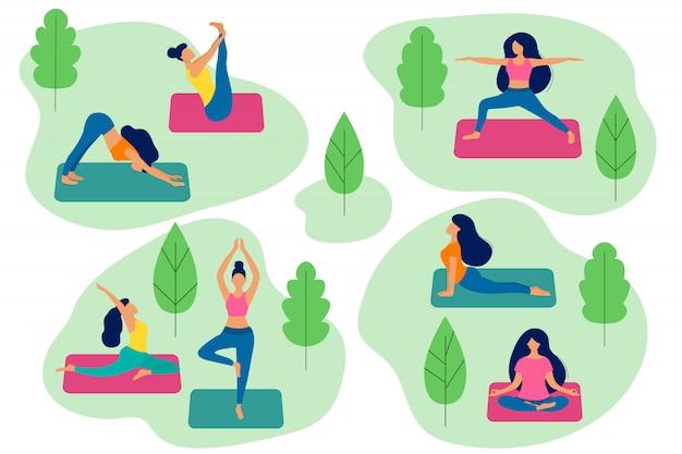 Ludzie uprawiają jogę w parku. aktywne kobiety w różnych asanach. zdrowy tryb życia. trening na świeżym powietrzu. ilustracja wektorowa płaski.