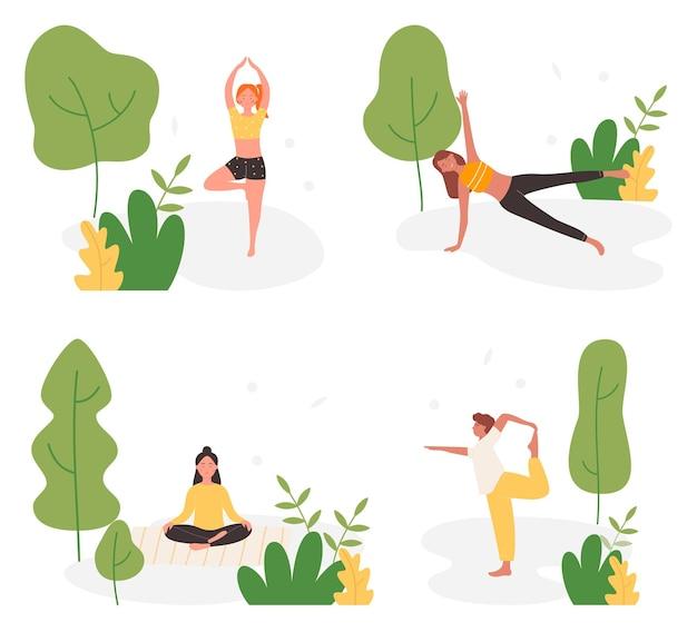 Ludzie uprawiają jogę w zestawie ilustracji parku latem.