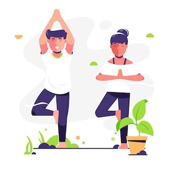 Ludzie uprawiają jogę