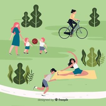 Ludzie uprawiają sport w parku