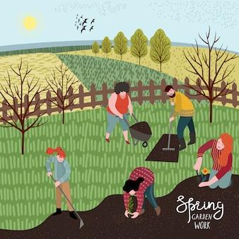 Ludzie uprawiają ziemię za pomocą grabi i motyki do sadzenia. ilustracja w ślicznym stylu mieszkania