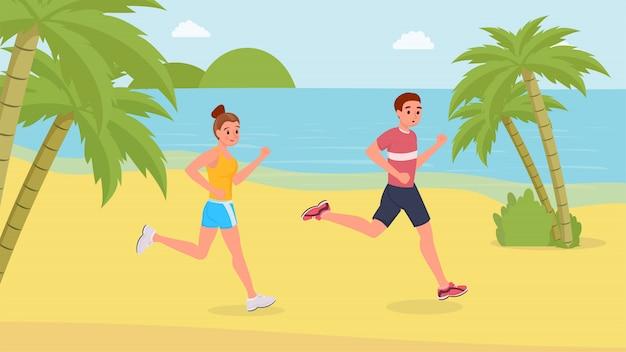 Ludzie uprawiający jogging na plaży