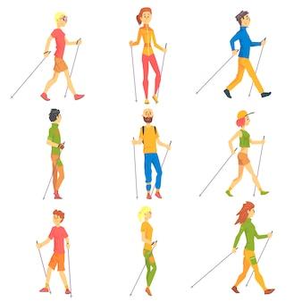Ludzie uprawiający nordic walk outdoors zestaw ilustracji