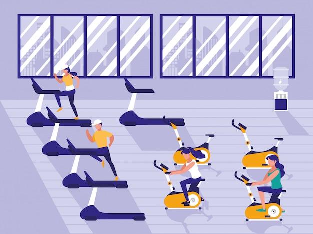Ludzie uprawiający sport na siłowni