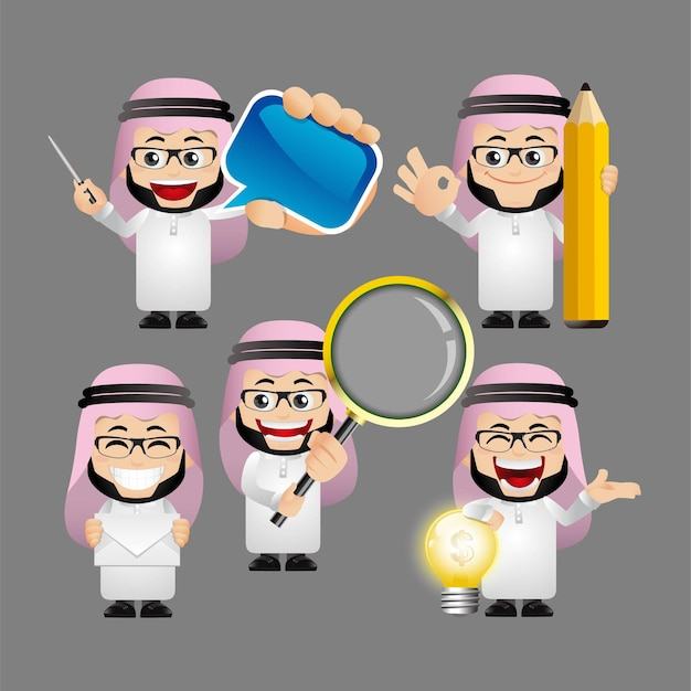 Ludzie ustaw arabski zestaw biznesmena