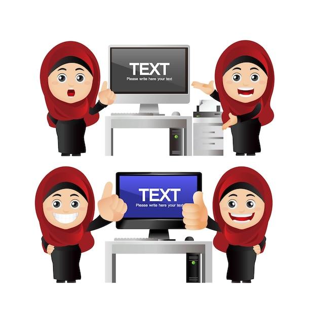Ludzie ustawiają arabski zestaw bizneswoman