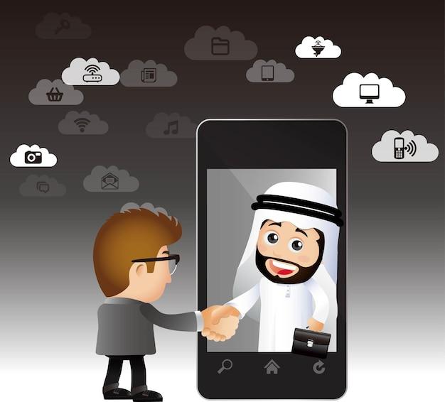 Ludzie ustawiają arabskich biznesmenów e-commerce