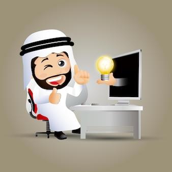 Ludzie ustawiają arabskich ludzi biznesu przed komputerem