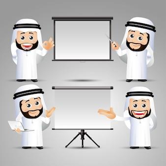 Ludzie ustawiają arabskie kobiety biurowe dając prezentację