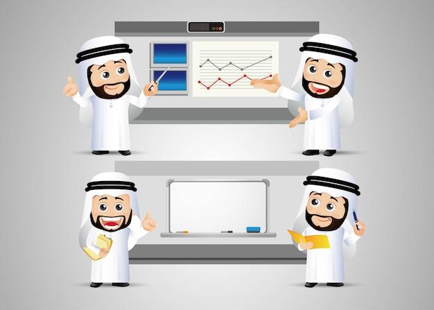 Ludzie ustawiają arabskiego biznesmena z wykresem i tablicą