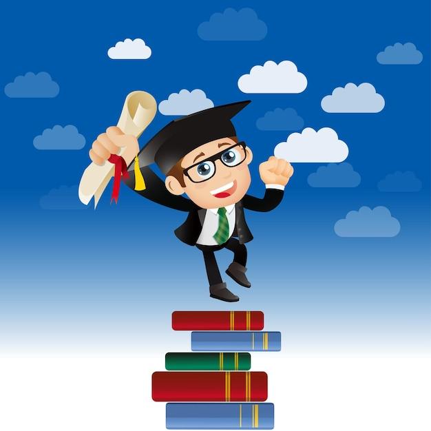 Ludzie ustawiają edukacja absolwent ambitny człowiek skaczący dla koncepcji przyszłych trendów