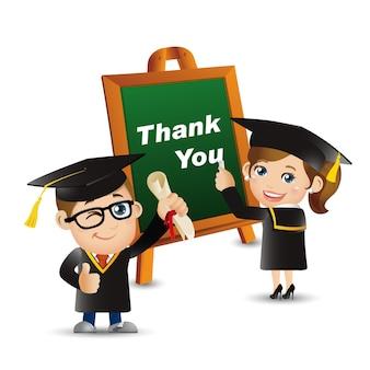 Ludzie ustawiają edukacja absolwent dziękuję mężczyzna kobieta