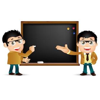 Ludzie ustawiają edukacja nauczyciel kobieta tablica