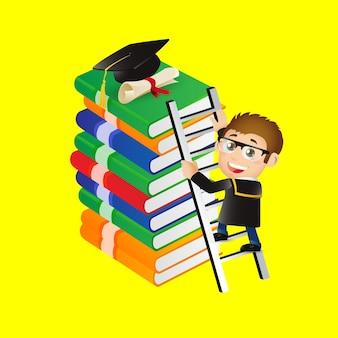 Ludzie ustawiają edukację absolwent wspina się po drabinie, aby osiągnąć czapkę absolwenta
