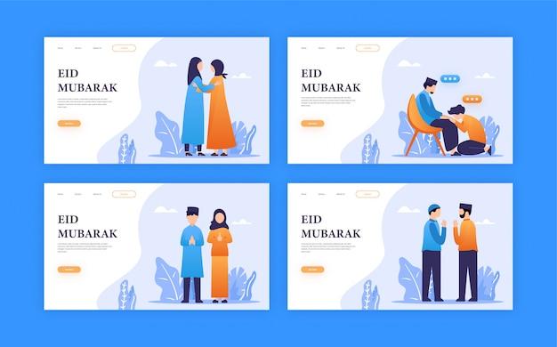 Ludzie ustawiają ilustrację dla ramadan / eid mubarak pozdrowienia z koncepcją strony docelowej