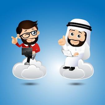 Ludzie ustawiają komunikację w chmurze arabskiego biznesmena