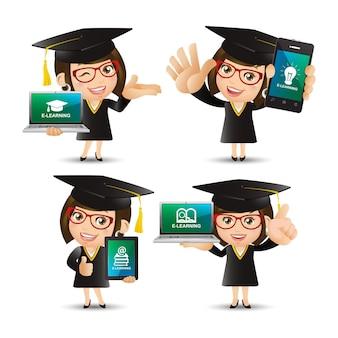 Ludzie Ustawiają Koncepcję E Learningu Premium Wektorów