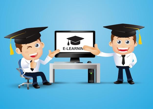 Ludzie ustawiają koncepcję e learningu