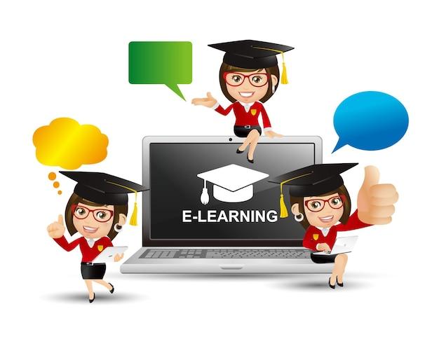 Ludzie ustawiają koncepcję e-learningu