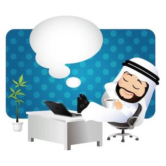 Ludzie ustawiają myślenie arabskiego biznesmena