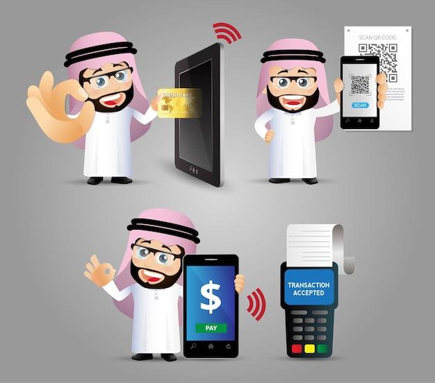 Ludzie ustawiają płatności mobilne w e-zakupach