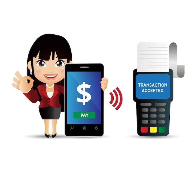 Ludzie ustawiają płatności mobilne